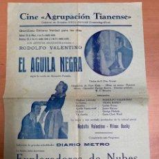"""Folhetos de mão de filmes antigos de cinema: FOLLETO DE CINE ANTIGUO """"EL ÁGUILA NEGRA """".RODOLFO VALENTINO. PROGRAMA LOCAL. CARTEL.. Lote 275069418"""