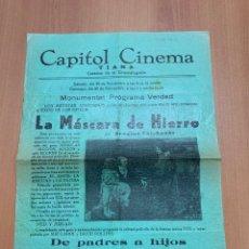 "Folhetos de mão de filmes antigos de cinema: FOLLETO DE CINE ANTIGUO ""LA MÁSCARA DE HIERRO"". DOUGLAS FAIRBANKS. PROGRAMA LOCAL.CARTEL.. Lote 275073348"