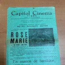 """Folhetos de mão de filmes antigos de cinema: FOLLETO DE CINE ANTIGUO """"ROSE MARIE"""". JOAN CRAWFORD-JAMES MURRAY. MGM. AÑOS 20'S. PROGRAMA LOCAL.. Lote 275094903"""