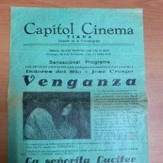 """Folhetos de mão de filmes antigos de cinema: FOLLETO DE CINE ANTIGUO """"VENGANZA"""". DOLORES DEL RÍO. AÑOS 20'S, 30'S. PROGRAMA LOCAL. CARTEL.. Lote 275097708"""