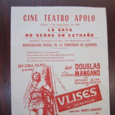 Cine: ULISES - FOLLETO MANO ORIGINAL LOCAL - KIRK DOUGLAS SILVANA MANGANO ANTHONY QUINN - IMPRESO. Lote 275275013