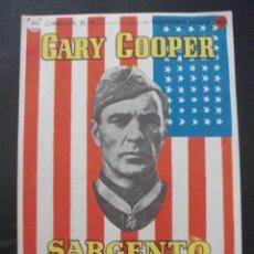 Cine: SARGENTO YORK, GARY COOPER. Lote 275476073
