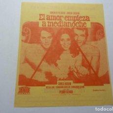 Folhetos de mão de filmes antigos de cinema: PROGRAMA DE CINE LOCAL. EL AMOR EMPIEZA A MEDIANOCHE 1975. Lote 275627453