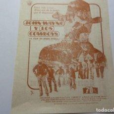 Folhetos de mão de filmes antigos de cinema: PROGRAMA DE CINE LOCAL. LOS COWBOYS 1972. Lote 275629278