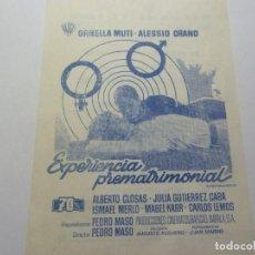 Folhetos de mão de filmes antigos de cinema: PROGRAMA DE CINE LOCAL. EXPERIENCIA PREMATRIMONIAL 1973. Lote 275629803