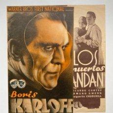 Flyers Publicitaires de films Anciens: LOS MUERTOS ANDAN. DOBLE WARNER BROS. BORIS KARLOFF. TERROR. PERFECTO ESTADO. Lote 275786588