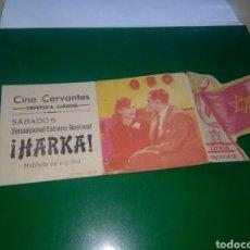 Cine: ANTIGUO PROGRAMA DE CINE TROQUELADO. HARKA. CINE CERVANTES. EMPRESA CABRERA. SEVILLA. Lote 276027918