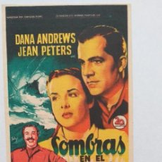 Cine: PROGRAMA DE CINE SOMBRAS EN EL MAR. Lote 276121843