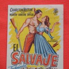 Cine: EL SALVAJE, IMPECABLE SENCILLO, CHARLTON HESTON SUSAN MORROW, CON PUBLICIDAD KURSAAL REUS. Lote 276188833
