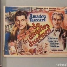 Cine: FOLLETO MANO ORIGINAL CINE CAMPANET MALLORCA MUY ANTIGUO. AMADEO NAZZARI, CUANDO LOS ANGELES DUERMEN. Lote 276290848