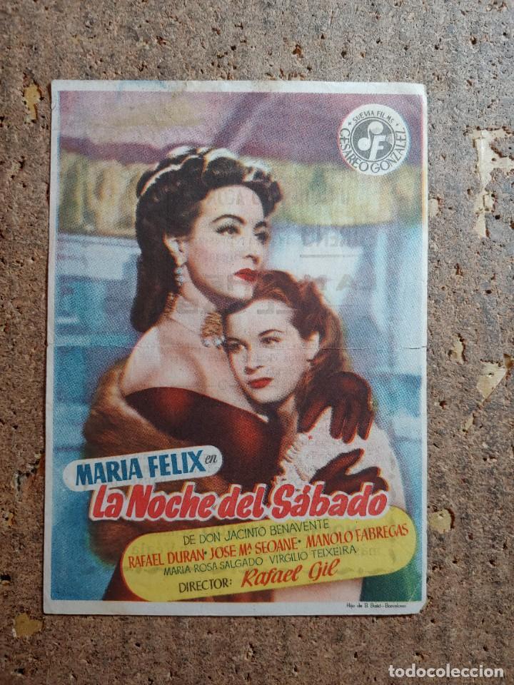 FOLLETO DE MANO DE LA PELICULA LA NOCHE DEL SABADO CON PUBLICIDAD (Cine - Folletos de Mano - Clásico Español)
