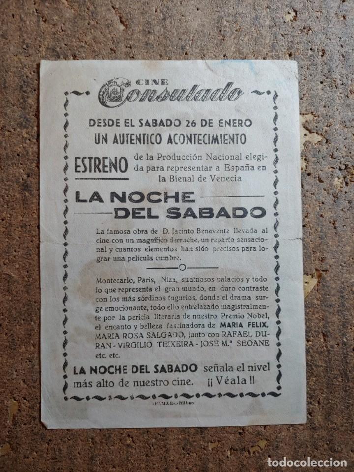 Cine: FOLLETO DE MANO DE LA PELICULA LA NOCHE DEL SABADO CON PUBLICIDAD - Foto 2 - 276916923