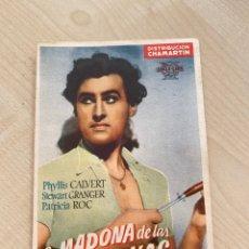 Cine: FOLLETO DE MANO ; LA MADONA DE LAS SIETE LUNAS ; PHYLLIS CALVERT. Lote 277049508