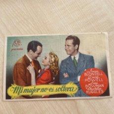 Cine: FOLLETO DE MANO ; MI MUJER NO ES SOLTERA ; 1945 ; JOAN BLONDELL. Lote 277051873