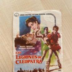 Cine: FOLLETO DE MANO ; LAS LEGIONES DE CLEOPATRA ; LINDA CRISTAL. Lote 277054548