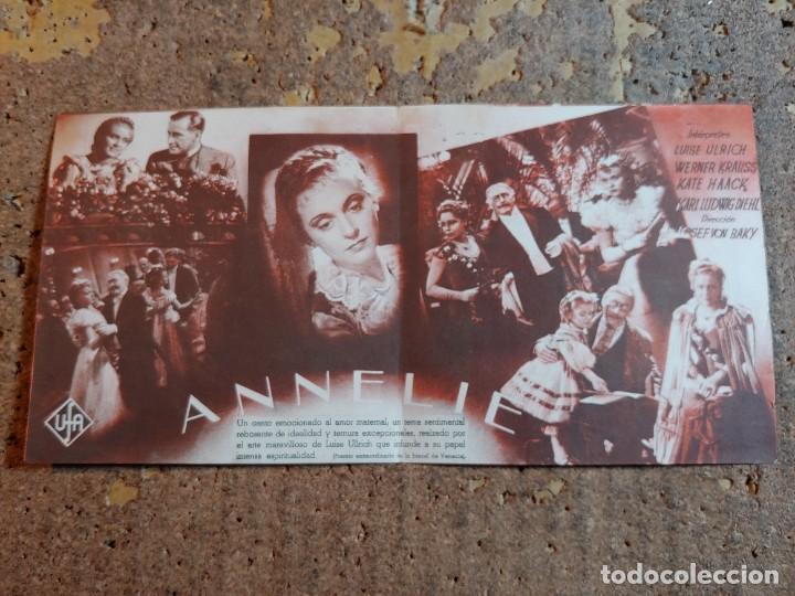 FOLLETO DE MANO DOBLE DE LA PELICULA ANNELIE (Cine - Folletos de Mano - Drama)