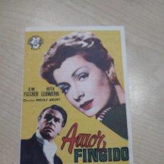 Cine: FOLLETO DE MANO AMOR FINGIDO , O W FISCHER , 1958. Lote 277096148