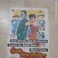 Cine: FOLLETO DE MANO CUANDO LLEGUE SEPTIEMBRE , ROCK HUDSON ,. Lote 277097023