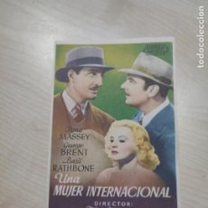 Cine: FOLLETO DE MANO UNA MUJER INTERNACIONAL , JLONA MASSEY ,. Lote 277099408