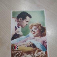 Cine: FOLLETO DE MANO SU ULTIMA DANZA , HENRY FONDA , 1947. Lote 277100393