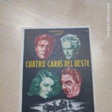 Cine: FOLLETO DE MANO CUATRO CARAS DEL OESTE , JOEL MCCREA , 1958. Lote 277100633
