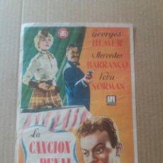 Cine: LA CANCION DEL PENAL CON PUBLICIDAD TEATRO CERVANTES MÁLAGA. Lote 277142988