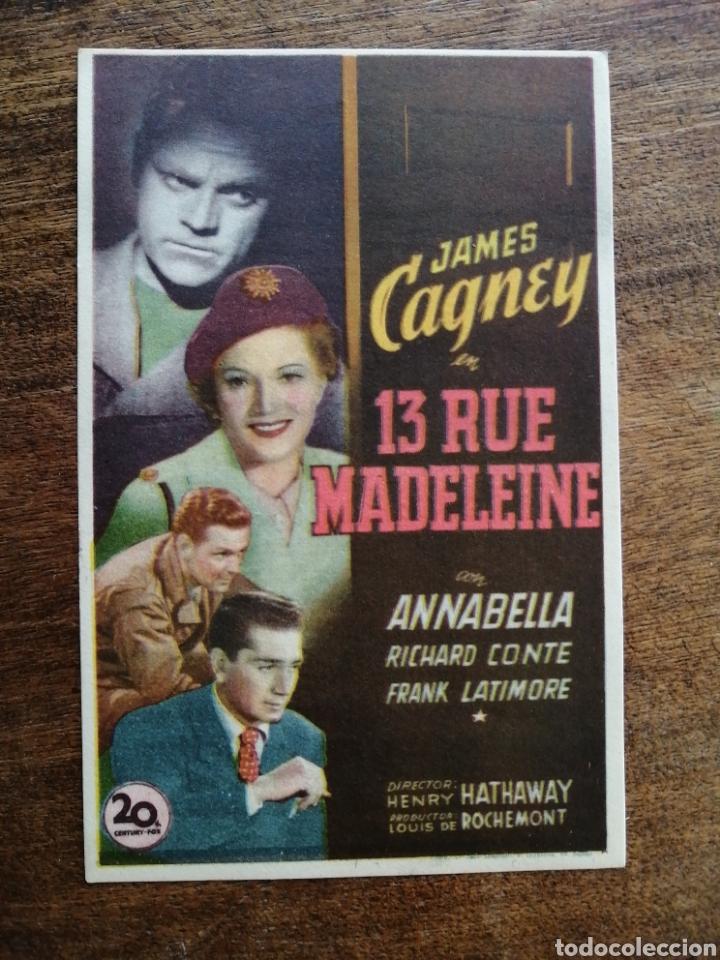 PROGRAMA ORIGINAL 13 RUE MADELEINE, JAMES CAGNEY, ANNABELLA (Cine - Folletos de Mano - Drama)