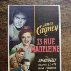 Cine: PROGRAMA ORIGINAL 13 RUE MADELEINE, JAMES CAGNEY, ANNABELLA. Lote 277156458