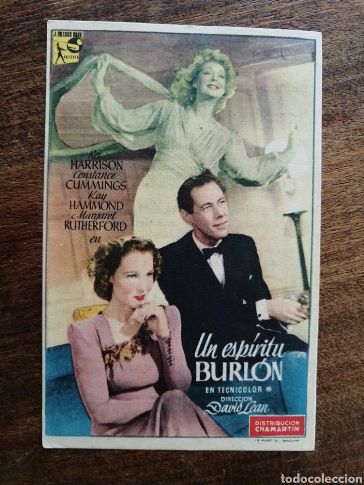 PROGRAMA UN ESPIRITU BURLON (Cine - Folletos de Mano - Drama)