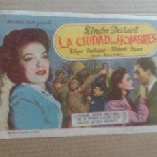 Cine: LA CIUDAD SIN HOMBRES CON PUBLICIDAD CINEMA RADIO VIGO. Lote 277177088