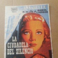 Cine: LA CIUDADELA DEL SILENCIO CON PUBLICIDAD CINES ATENEO Y AVANCE SAN FELIU DE LLOBREGAT. Lote 277180258