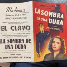 Cine: LA SOMBRA DE LA DUDA C/P BUEN ESTADO. Lote 277189108