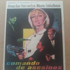 Cine: COMANDO DE ASESINOS CON PUBLICIDAD CINE CERVANTES VILLENA. Lote 277609388