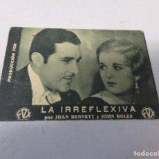 Cine: FOLLETO DE MANO LA IRREFLEXIVA FOX , JOAN BENNETT 1933. Lote 277644653