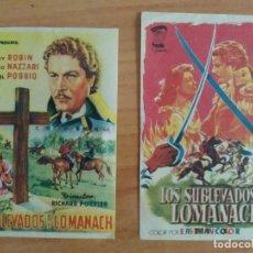 Cine: N1º-LOTE 13-- PROGRAMAS DE CINE LOS SUBLEVADOS DE LOMANACH. Lote 277738198