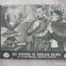 Cine: UNA AVENTURA DE SHERLOCK HOLMES, CLIVE BROOK, CINE NUEVO, 1933. Lote 277762013