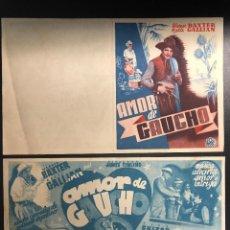 Cine: PROGRAMA DEMANO DE LAPELICULA AMOR DE GAUCHO (1935). Lote 277822303