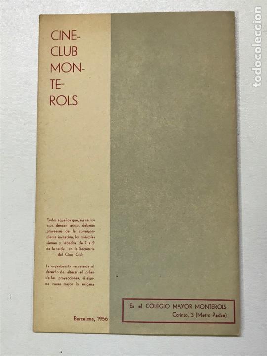 Cine: Clvub Monterols 1956 Primer ciclo de cine Español 26x21cm Ref J - Foto 3 - 278200773