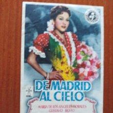 Cine: DE MADRID AL CIELO (CON PUBLICIDAD). Lote 278216453