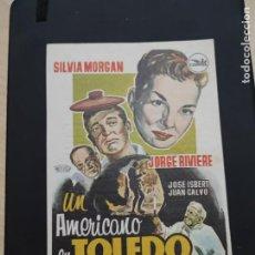 Cine: FOLLETO DE MANO UN AMERICANO EN TOLEDO , SILVIA MORGAN , 1960. Lote 278433048