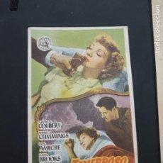 Cine: FOLLETO DE MANO PACTO TENEBROSO , CLAUDETTE COLBERT , 1951. Lote 278433553