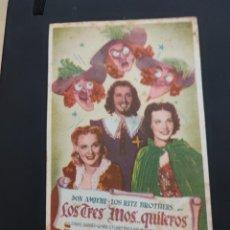 Cine: FOLLETO DE MANO LOS TRES MOSQUI...TEROS , DON AMECHE ,. Lote 278433893
