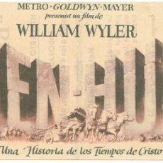 Foglietti di film di film antichi di cinema: BEN-HUR MGM. Lote 278501938