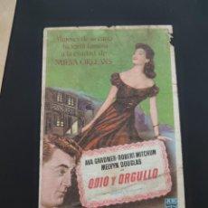 Cine: FOLLETO DE MANO ODIO Y ORGULLO , AVA GARDNER , 1954. Lote 278543318