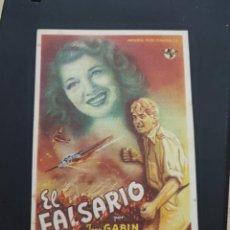 Cine: FOLLETO DE MANO EL FALSARIO , JEAN GABIN , 1946. Lote 278543348