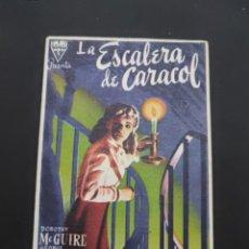 Cine: FOLLETO DE MANO LA ESCALERA DE CARACOL , DOROTHY MCGUIRE , 1949. Lote 278543363
