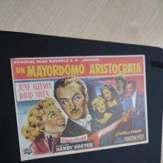 Cine: FOLLETO DE MANO UN MAYORDOMO ARISTOCRATA , JUNE ALLYSON , 1960. Lote 278543388