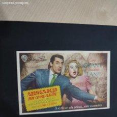 Cine: FOLLETO DE MANO ARSENICO POR COMPASION , CAARY GRANT , PRISCILLA LANE , 1947. Lote 278543398