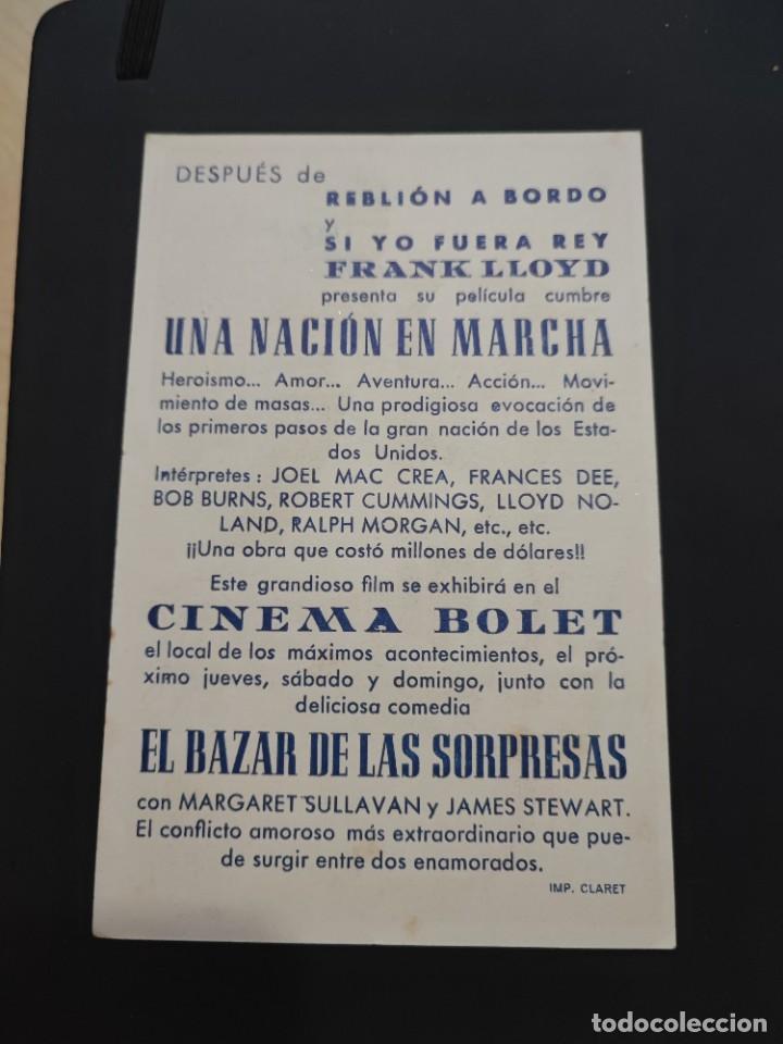 Cine: folleto de mano UNA NACION EN MARCHA , Frances Dee , - Foto 2 - 278543413