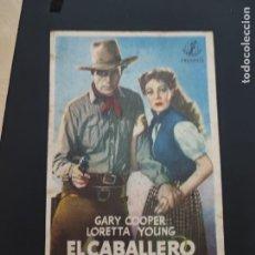 Cine: FOLLETO DE MANO EL CABALLERO DEL OESTE , GARY COOPER , 1947. Lote 278543438